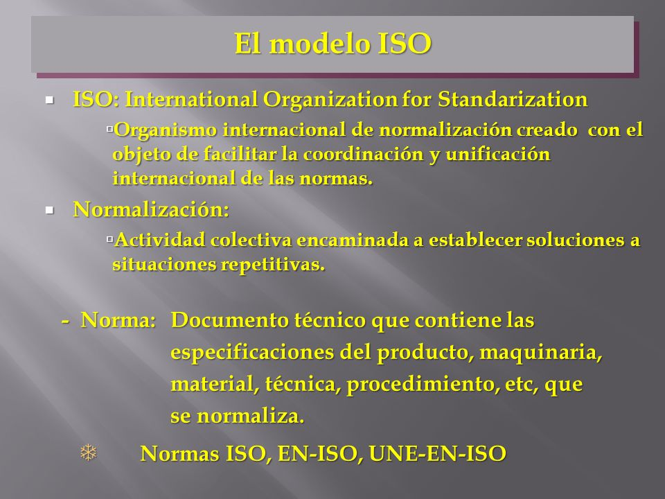 El modelo ISO ISO: International Organization for Standarization