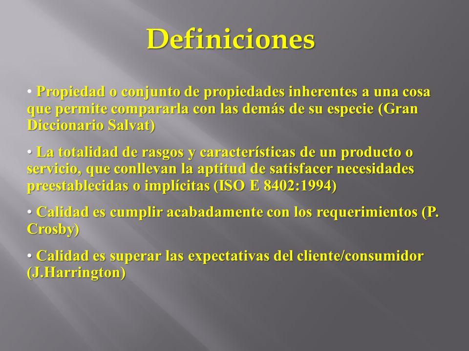 Definiciones Propiedad o conjunto de propiedades inherentes a una cosa que permite compararla con las demás de su especie (Gran Diccionario Salvat)