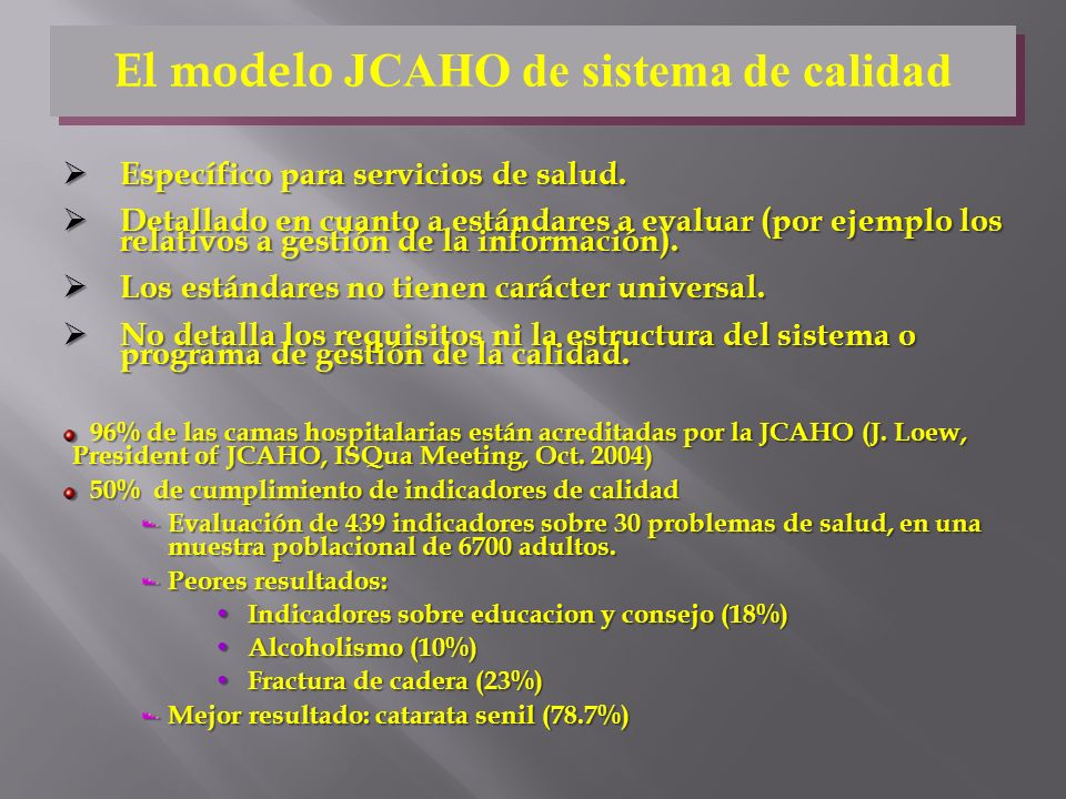 El modelo JCAHO de sistema de calidad
