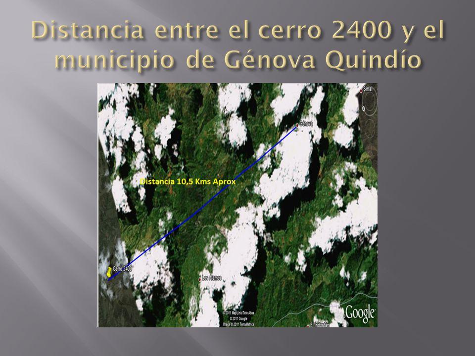 Distancia entre el cerro 2400 y el municipio de Génova Quindío