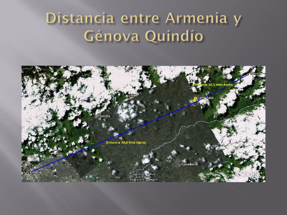 Distancia entre Armenia y Génova Quindío