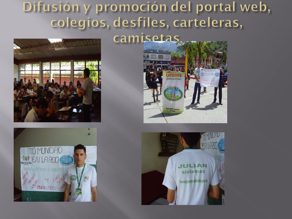 Difusión y promoción del portal web, colegios, desfiles, carteleras, camisetas