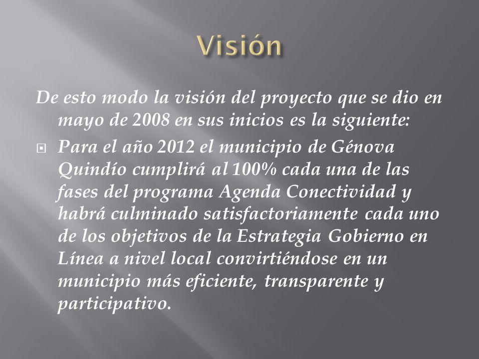 Visión De esto modo la visión del proyecto que se dio en mayo de 2008 en sus inicios es la siguiente: