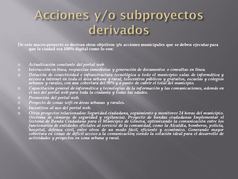 Acciones y/o subproyectos derivados