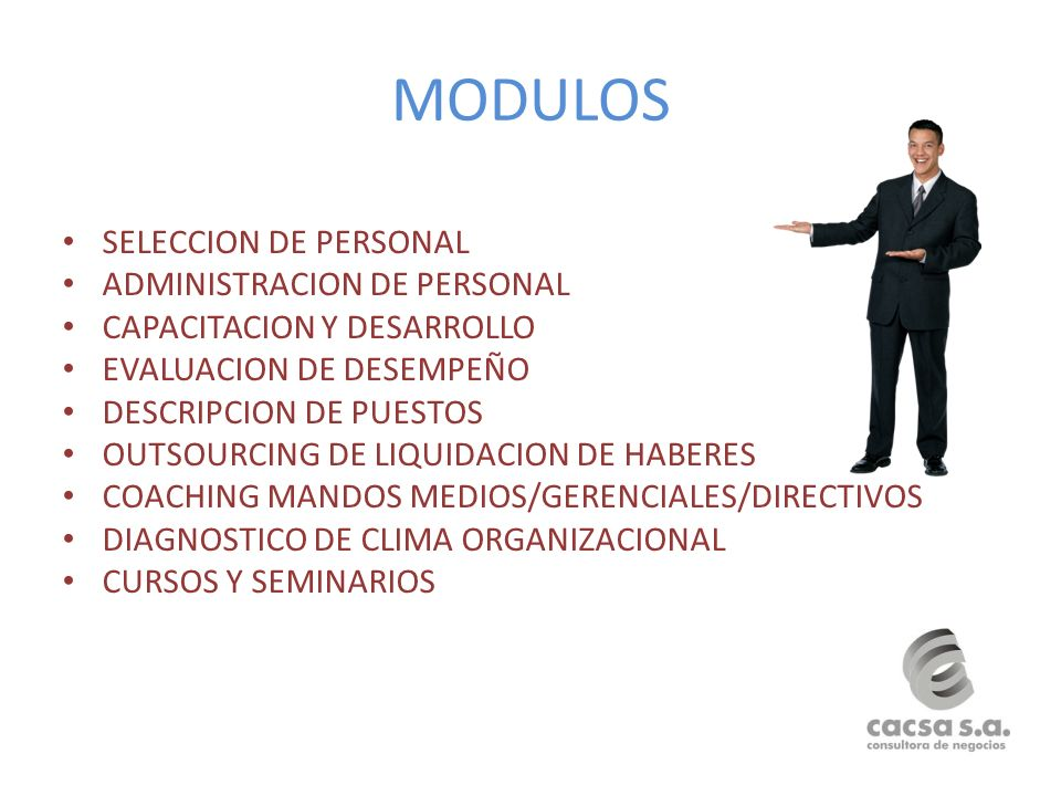 MODULOS SELECCION DE PERSONAL ADMINISTRACION DE PERSONAL