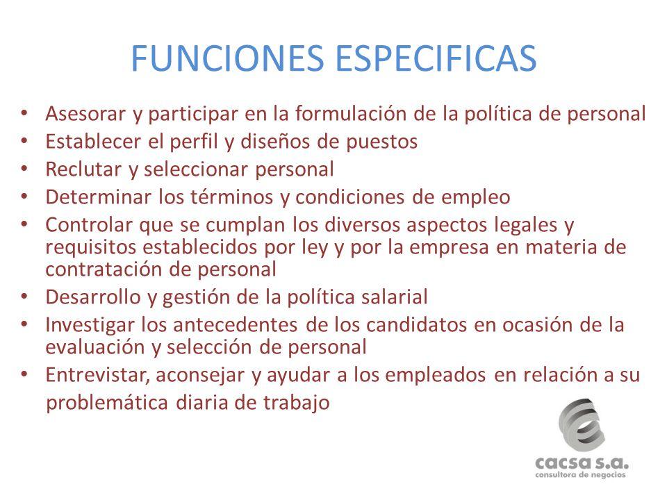 FUNCIONES ESPECIFICAS