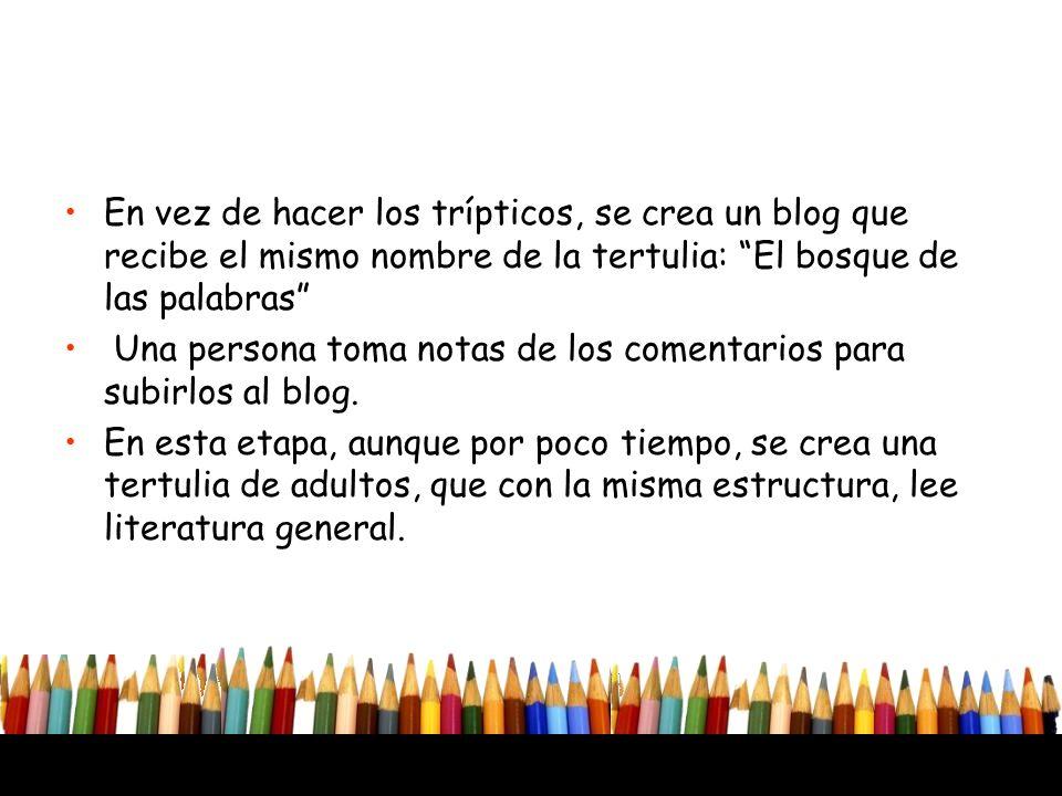 En vez de hacer los trípticos, se crea un blog que recibe el mismo nombre de la tertulia: El bosque de las palabras