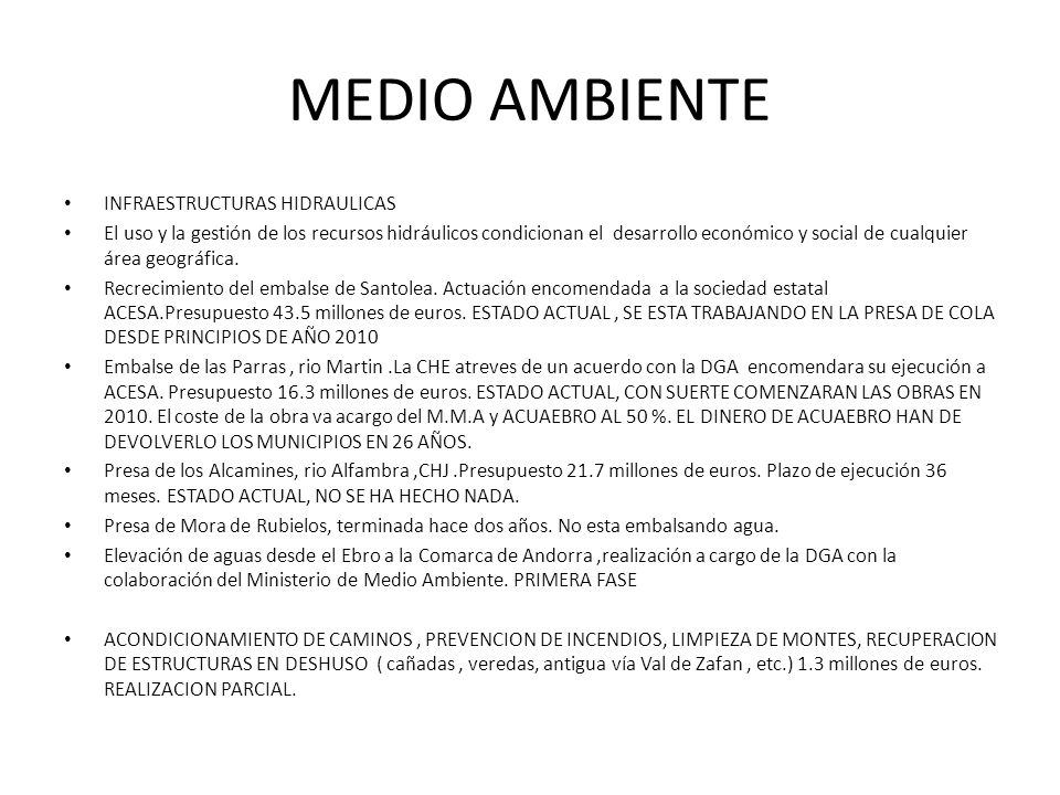 MEDIO AMBIENTE INFRAESTRUCTURAS HIDRAULICAS