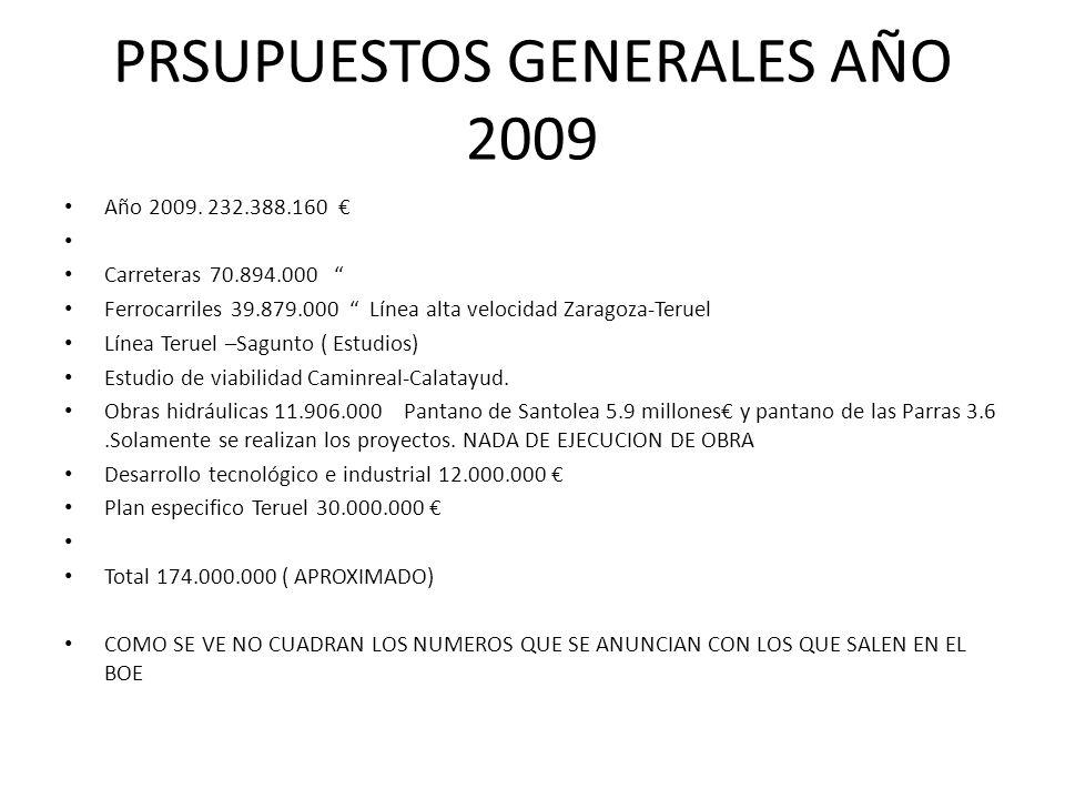 PRSUPUESTOS GENERALES AÑO 2009