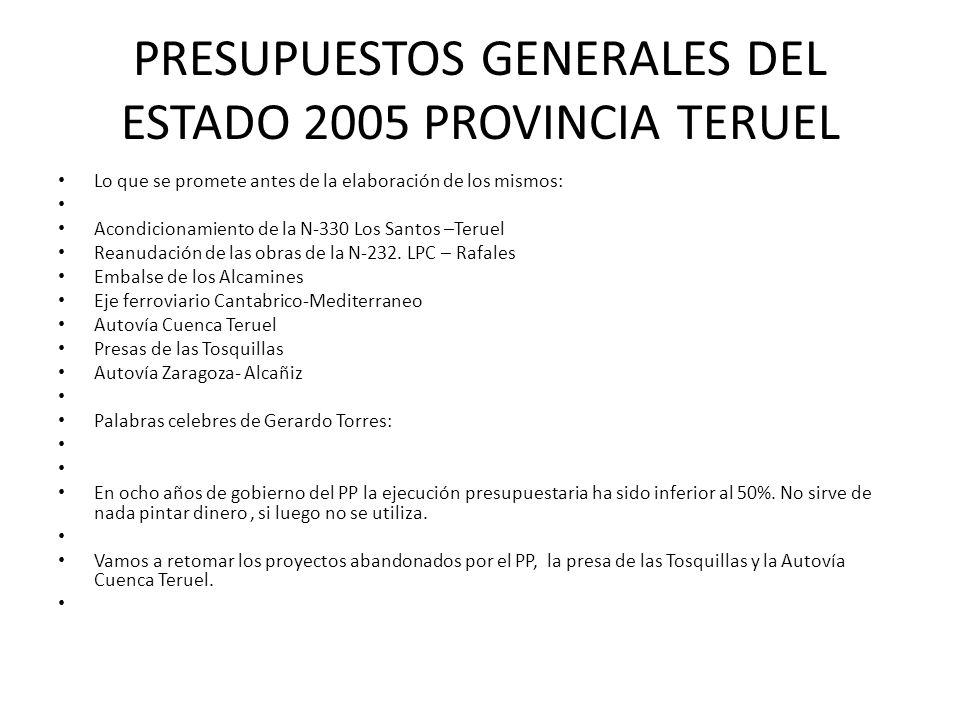 PRESUPUESTOS GENERALES DEL ESTADO 2005 PROVINCIA TERUEL