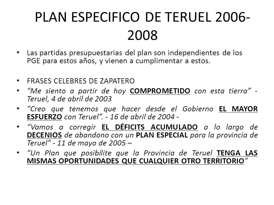 PLAN ESPECIFICO DE TERUEL 2006-2008