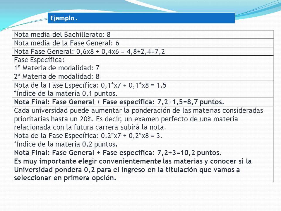 Ejemplo . Nota media del Bachillerato: 8. Nota media de la Fase General: 6. Nota Fase General: 0,6x8 + 0,4x6 = 4,8+2,4=7,2.