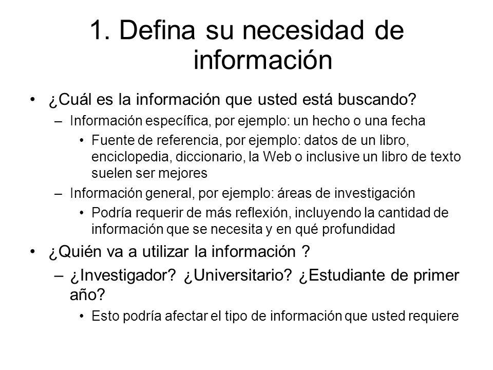 1. Defina su necesidad de información