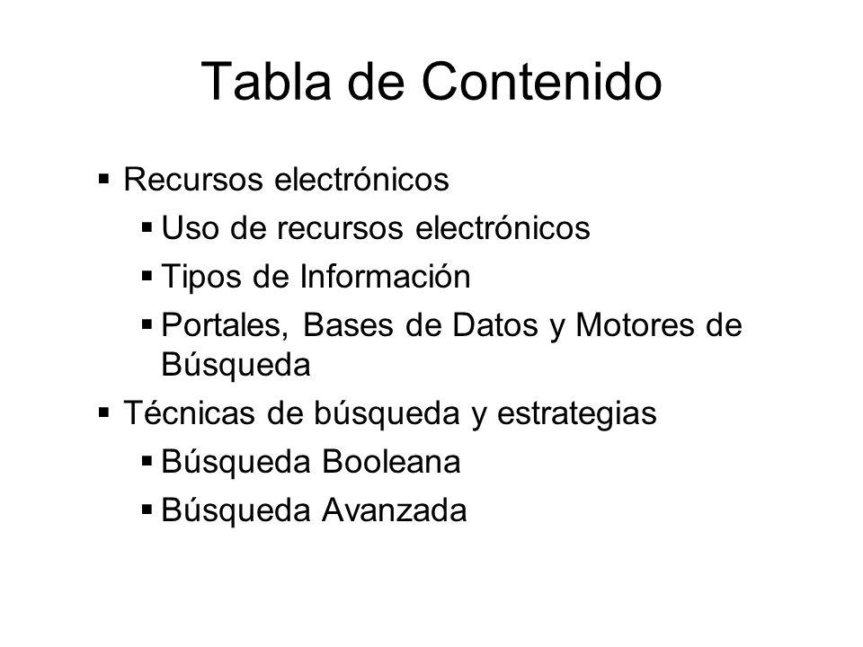 Tabla de Contenido Recursos electrónicos Uso de recursos electrónicos