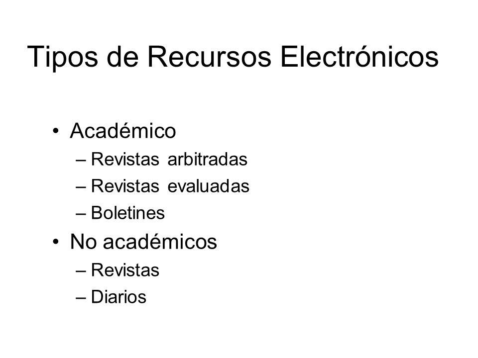 Tipos de Recursos Electrónicos