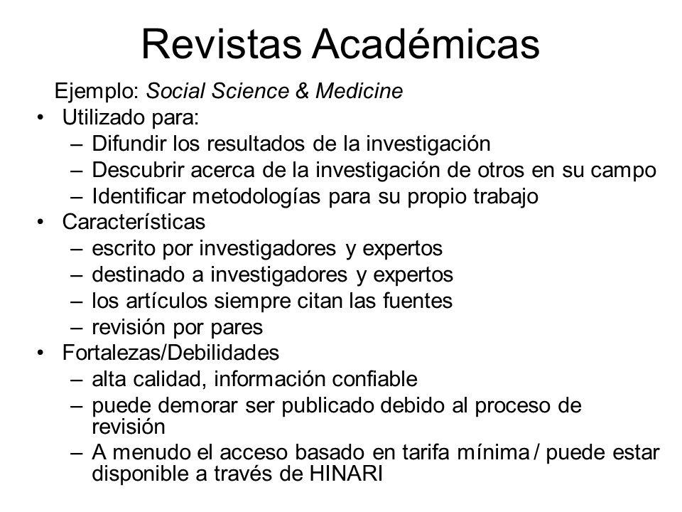 Revistas Académicas Ejemplo: Social Science & Medicine Utilizado para: