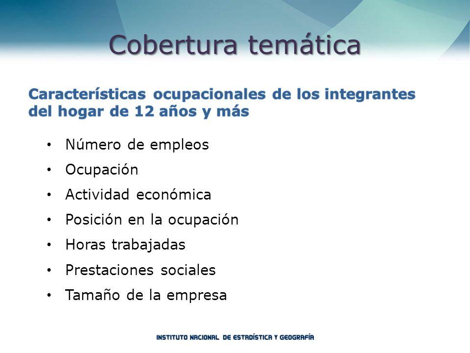 Cobertura temática Características ocupacionales de los integrantes del hogar de 12 años y más. Número de empleos.