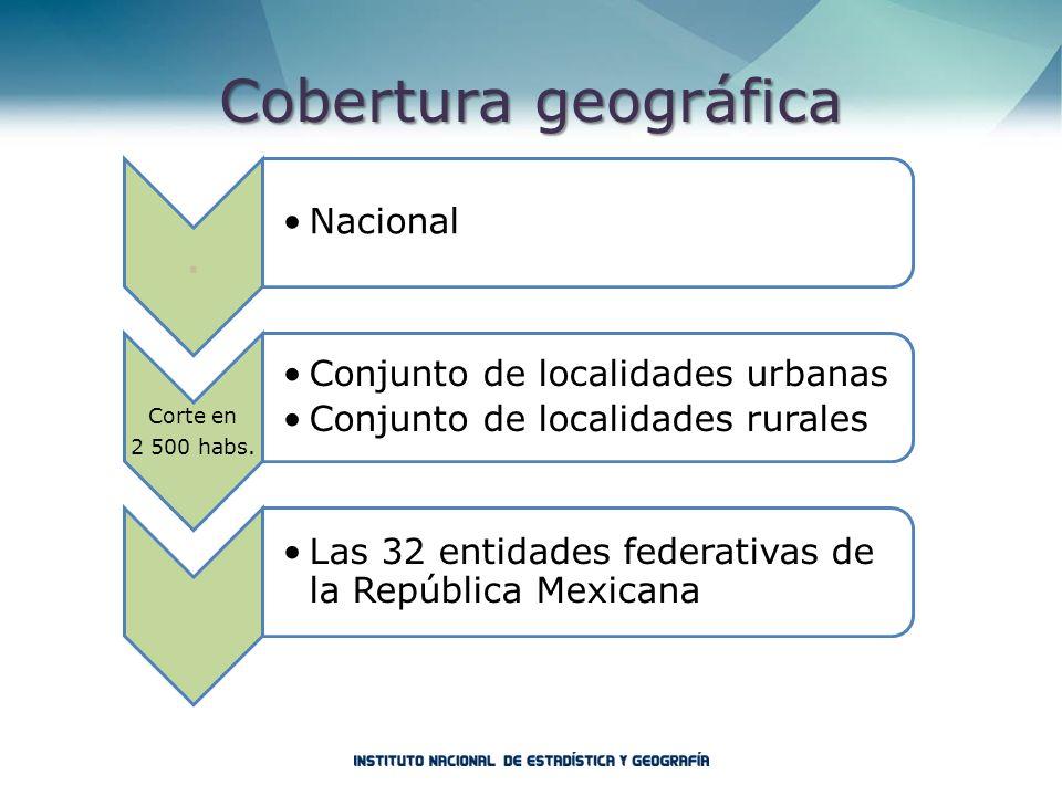 Cobertura geográfica Corte en 2 500 habs. . Nacional