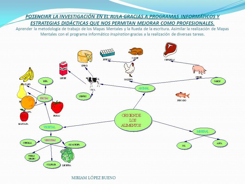 POTENCIAR LA INVESTIGACIÓN EN EL AULA GRACIAS A PROGRAMAS INFORMÁTICOS Y ESTRATEGIAS DIDÁCTICAS QUE NOS PERMITAN MEJORAR COMO PROFESIONALES. Aprender la metodología de trabajo de los Mapas Mentales y la Rueda de la escritura. Asimilar la realización de Mapas Mentales con el programa informático Inspiration gracias a la realización de diversas tareas.