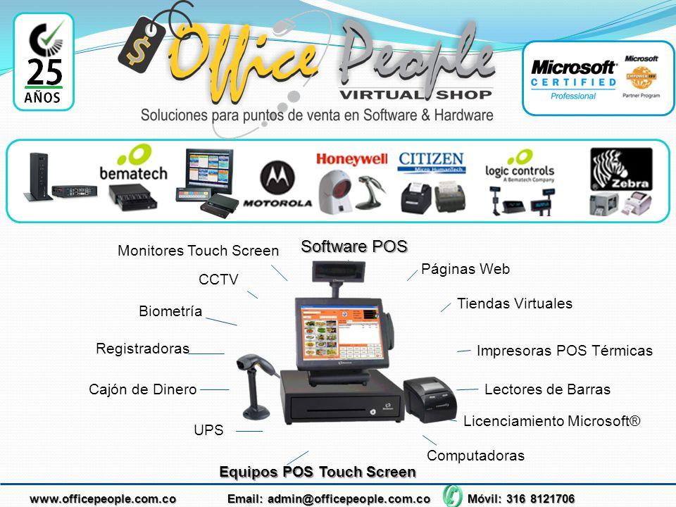 Software POS Monitores Touch Screen Páginas Web CCTV Tiendas Virtuales