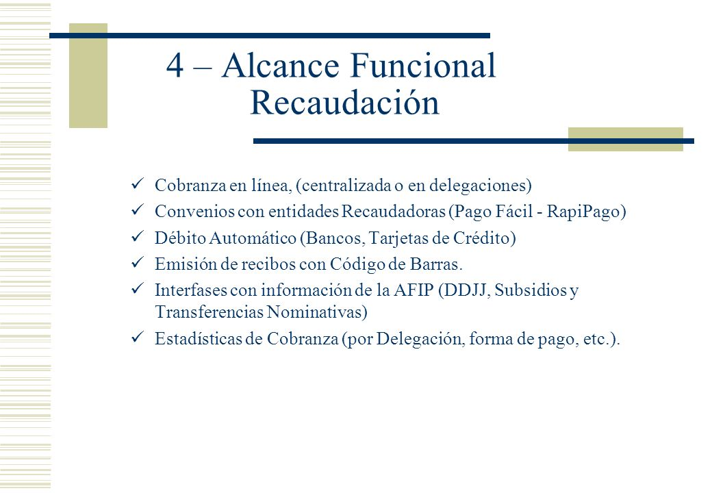 4 – Alcance Funcional Recaudación