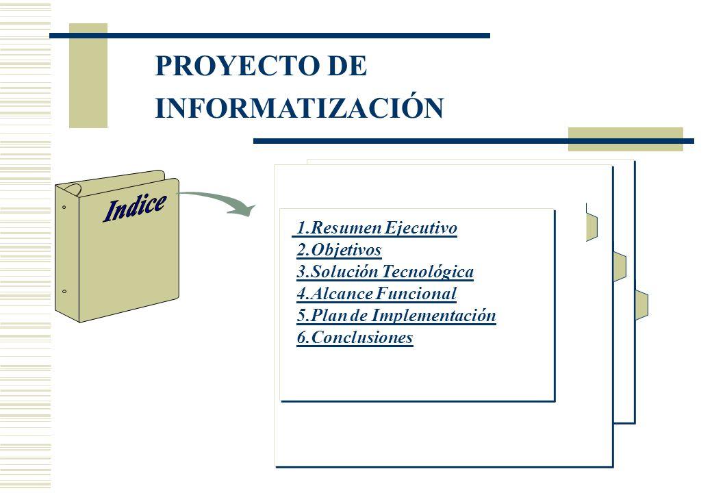 PROYECTO DE INFORMATIZACIÓN 1.Resumen Ejecutivo 2.Objetivos