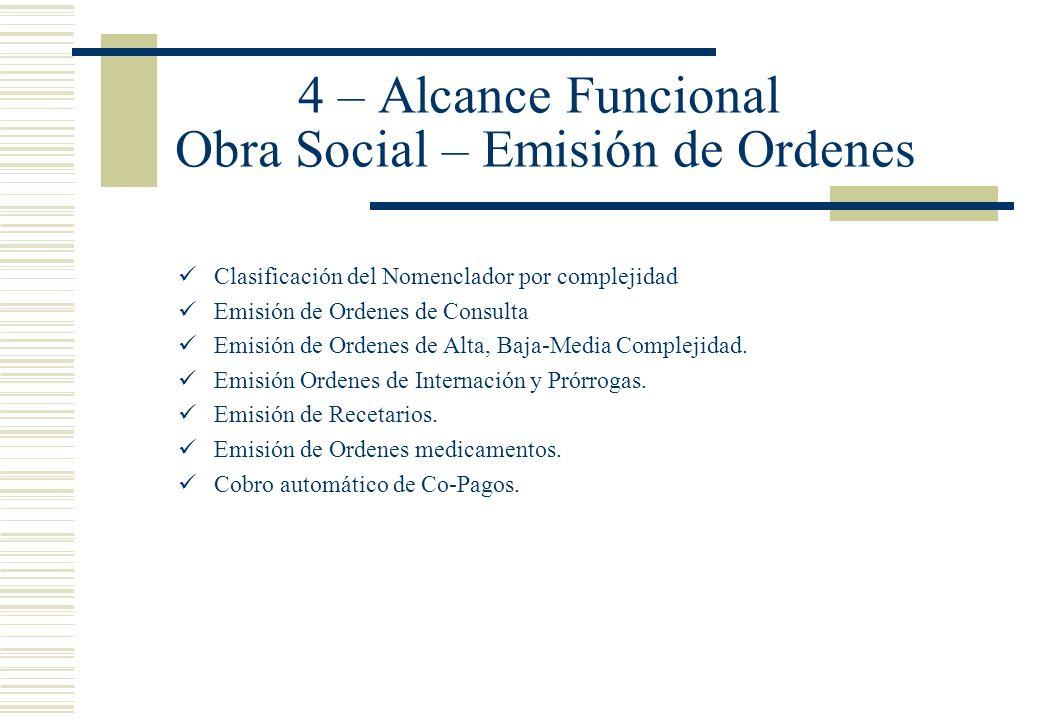 4 – Alcance Funcional Obra Social – Emisión de Ordenes