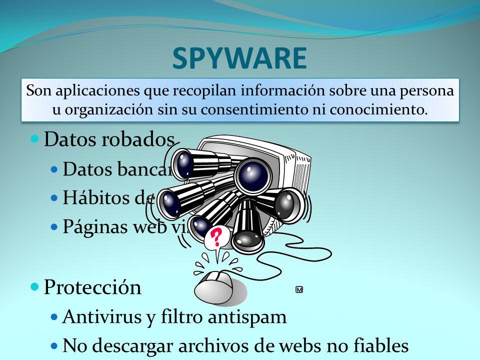 SPYWARE Datos robados Protección Datos bancarios Hábitos de návegación