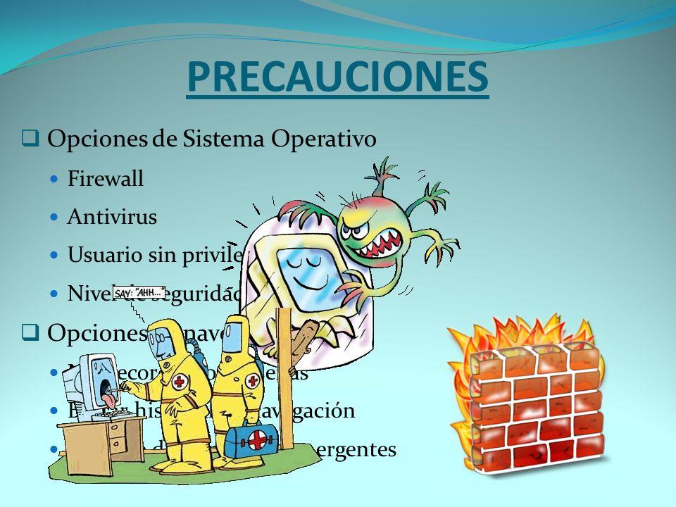 PRECAUCIONES Opciones de Sistema Operativo Opciones de navegador