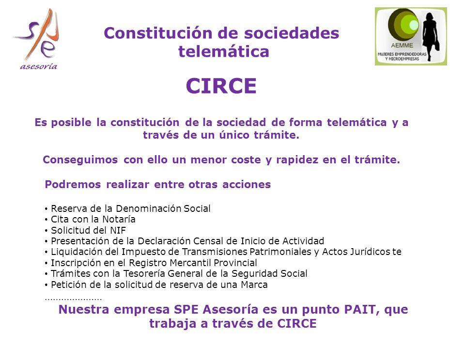 CIRCE Constitución de sociedades telemática