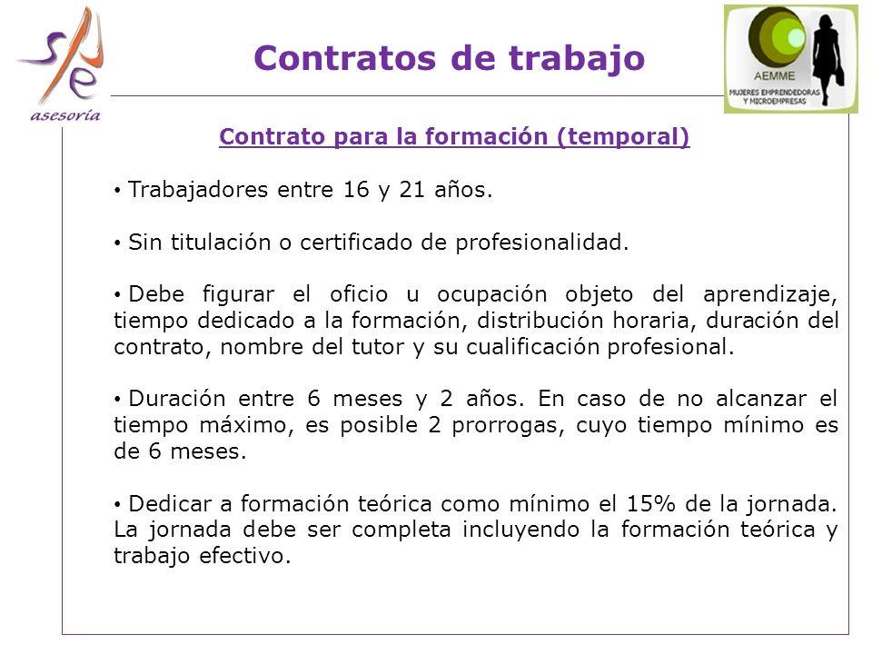 Contrato para la formación (temporal)