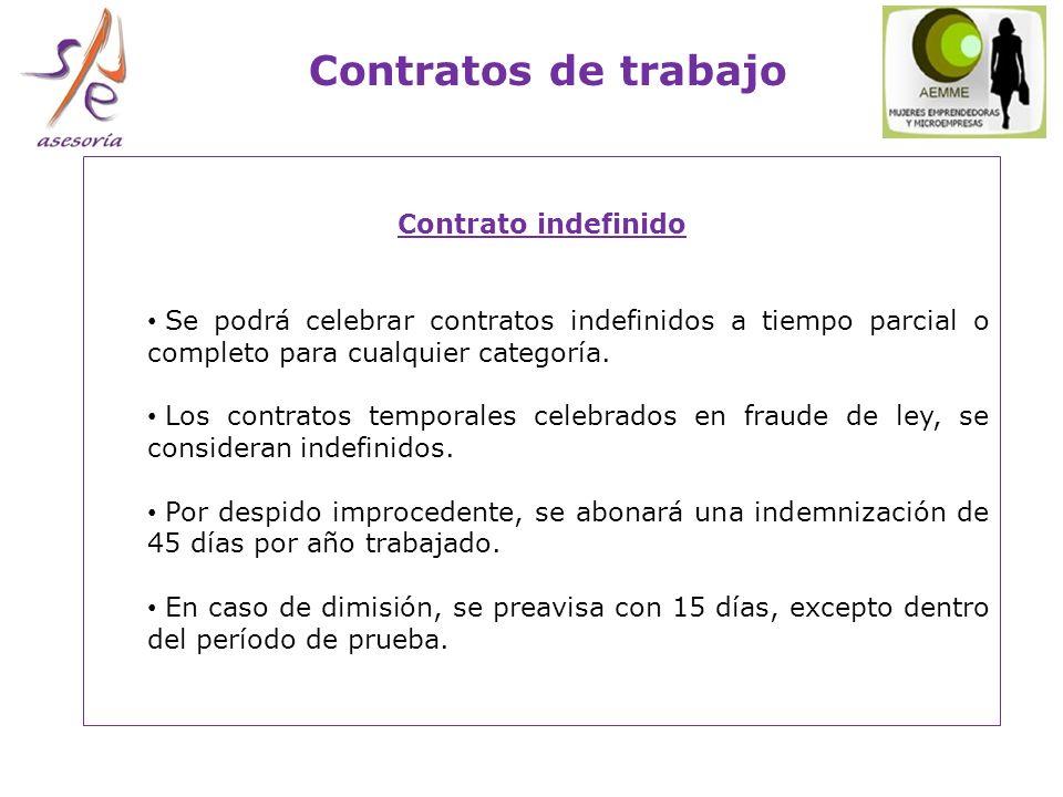 Contratos de trabajo Contrato indefinido