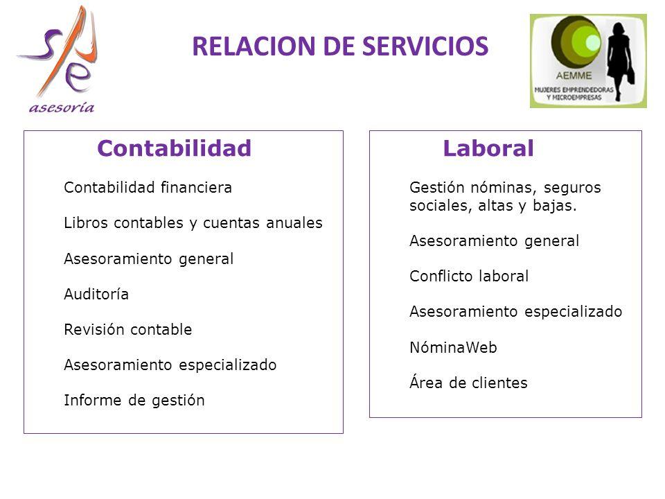 RELACION DE SERVICIOS Contabilidad Laboral Contabilidad financiera