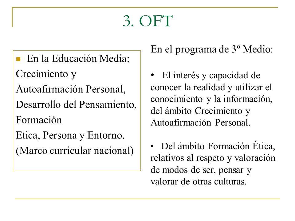 3. OFT En el programa de 3º Medio: En la Educación Media: