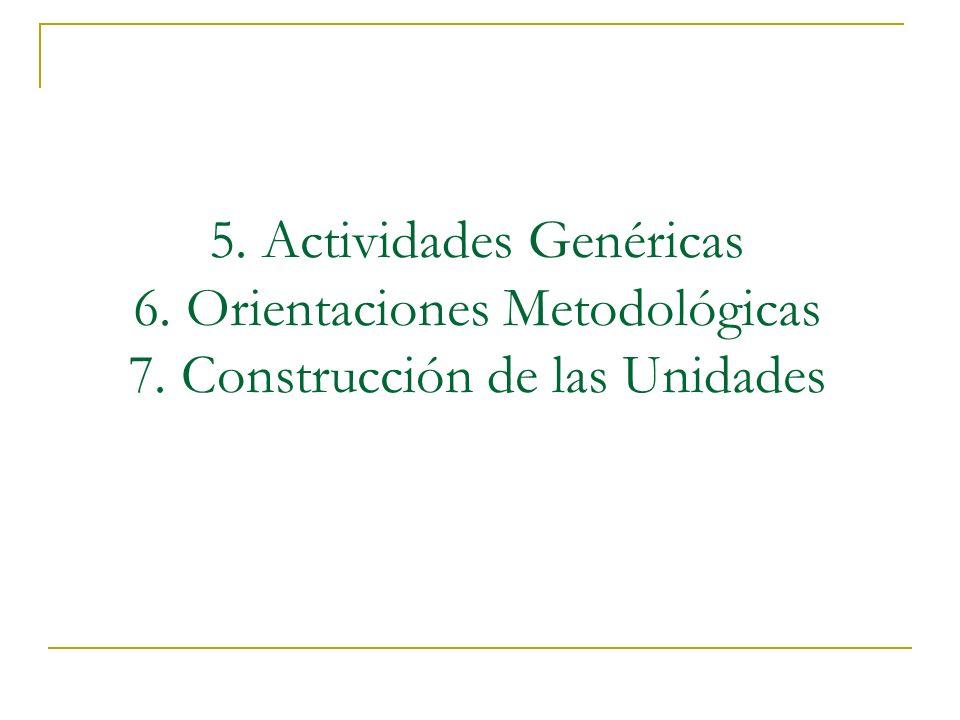 5. Actividades Genéricas 6. Orientaciones Metodológicas 7