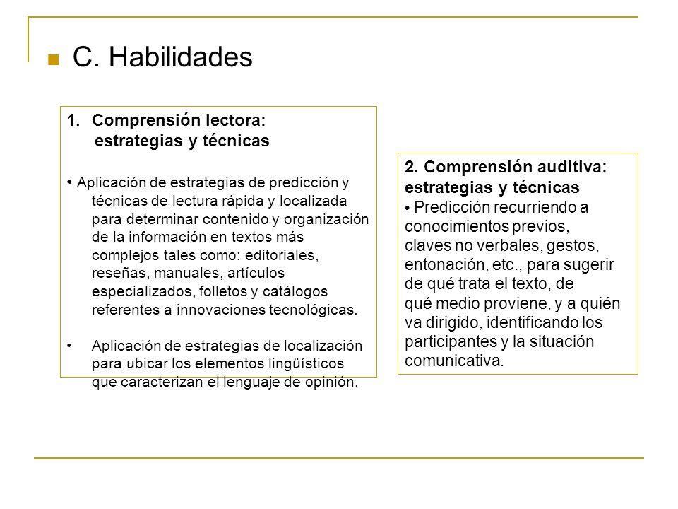 C. Habilidades Comprensión lectora: estrategias y técnicas