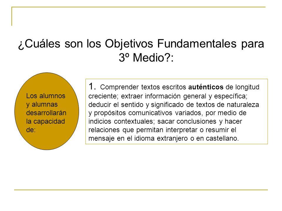 ¿Cuáles son los Objetivos Fundamentales para 3º Medio :
