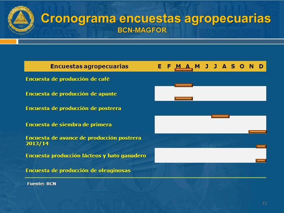 Cronograma encuestas agropecuarias BCN-MAGFOR