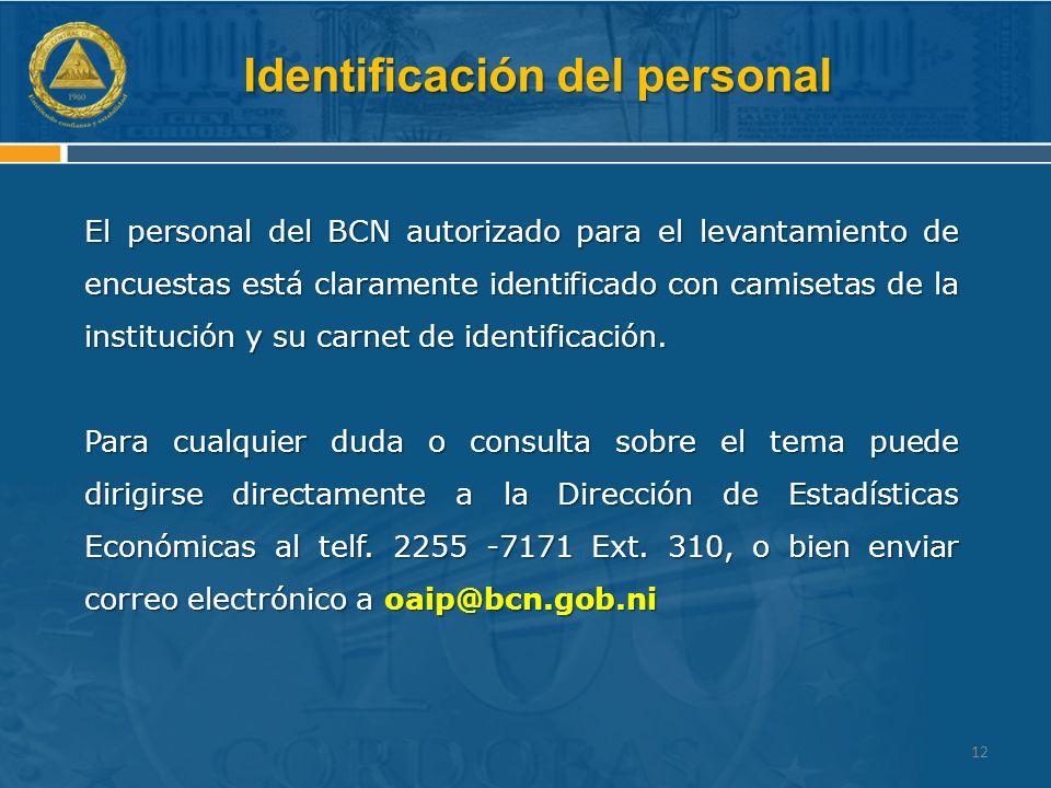 Identificación del personal