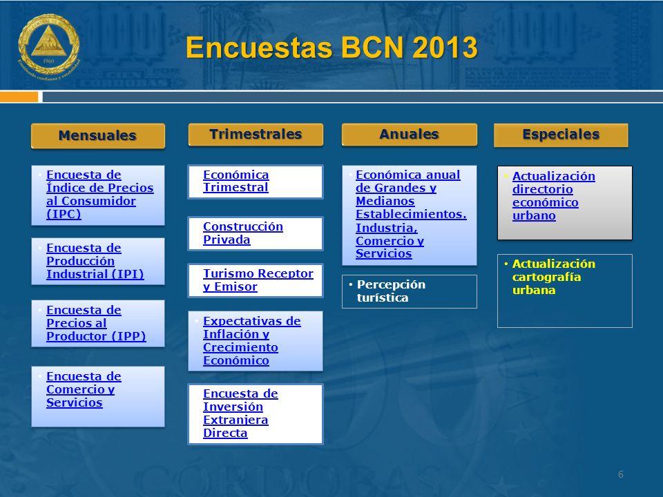 Encuestas BCN 2013 Mensuales Trimestrales Anuales Especiales