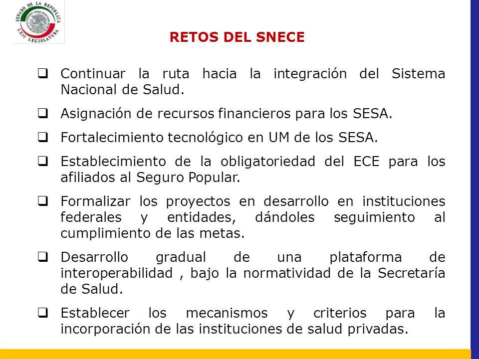 RETOS DEL SNECE Continuar la ruta hacia la integración del Sistema Nacional de Salud. Asignación de recursos financieros para los SESA.