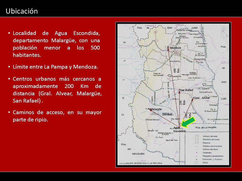 Ubicación Localidad de Agua Escondida, departamento Malargüe, con una población menor a los 500 habitantes.