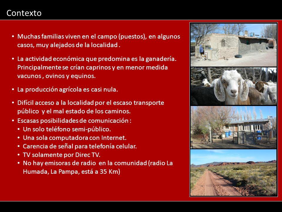 Contexto Muchas familias viven en el campo (puestos), en algunos casos, muy alejados de la localidad .