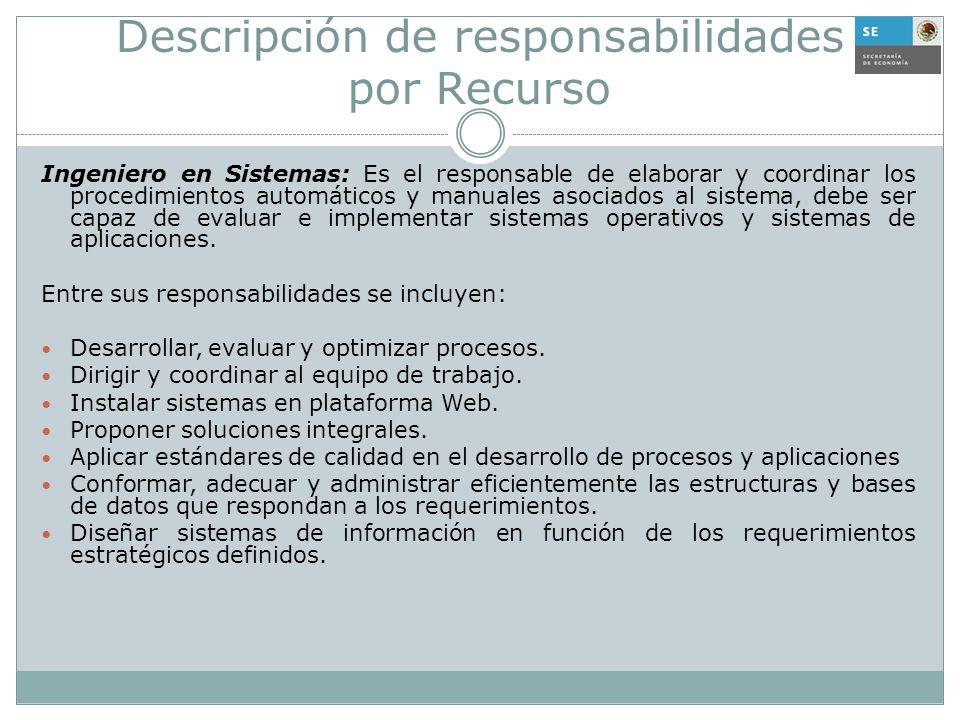 Descripción de responsabilidades