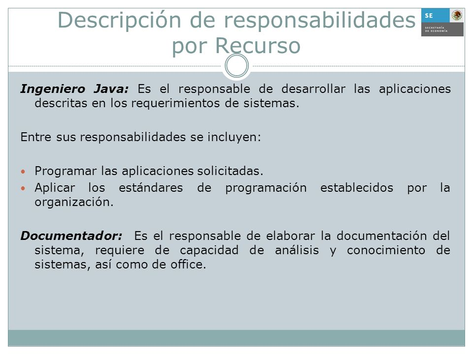 Descripción de responsabilidades por Recurso