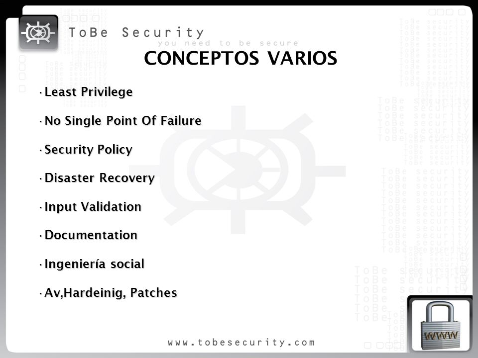 CONCEPTOS VARIOS Least Privilege No Single Point Of Failure