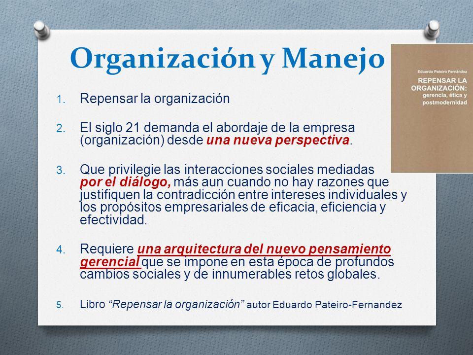 Organización y Manejo Repensar la organización