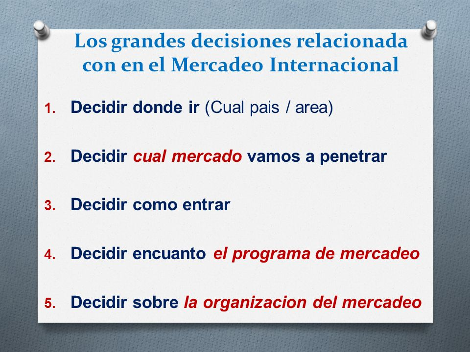 Los grandes decisiones relacionada con en el Mercadeo Internacional