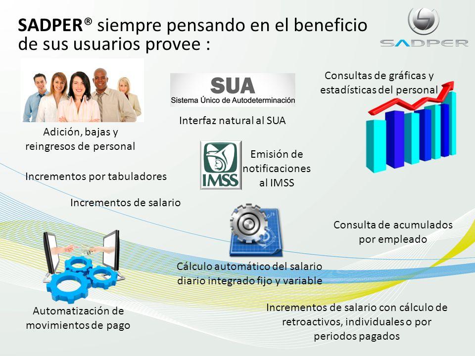 SADPER® siempre pensando en el beneficio de sus usuarios provee :