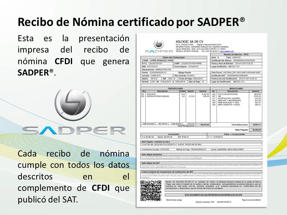 Recibo de Nómina certificado por SADPER®
